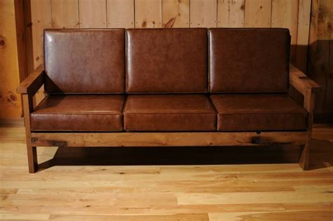 wood frame sofa furniture reclaimed wood frame couch with leather cushions misc