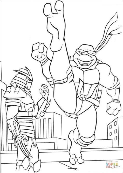 teenage mutant ninja turtles shredder coloring pages the shredder and ninja turtle coloring page free