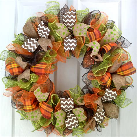fall deco mesh wreath fall door wreath fall wreaths