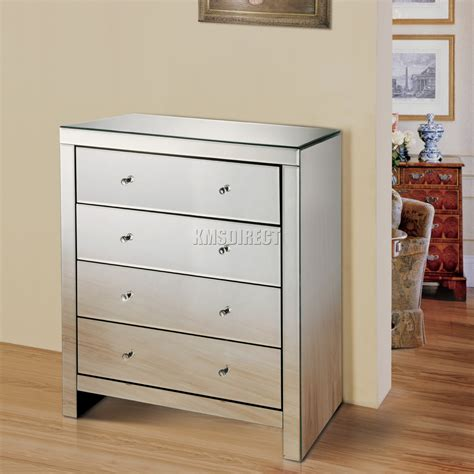 Dresser Glass Drawers by Foxhunter Mirrored Furniture Glass 4 Drawer Chest Cabinet