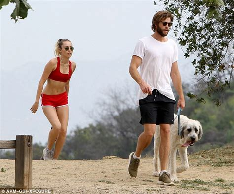 Miley Top miley cyrus in crop top for hike with liam hemsworth