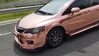 honda civic car wrap honda civic gold chrome wrap