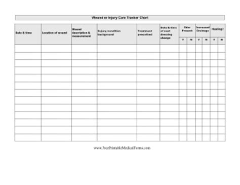 wound chart template printable wound care chart