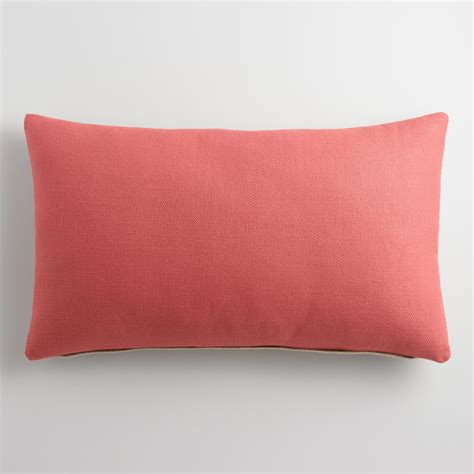 Coral Lumbar Pillow coral herringbone linen lumbar pillow world market