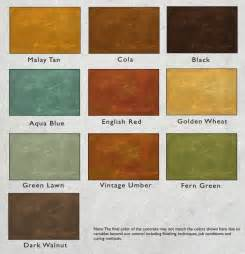 concrete acid stain color chart color options concrete stain color chart products