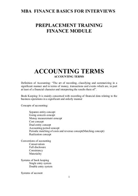 Basic Financial Terms For Mba by Finance Basics