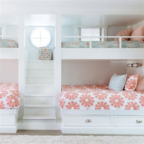 girls bunk beds  built  staircase transitional