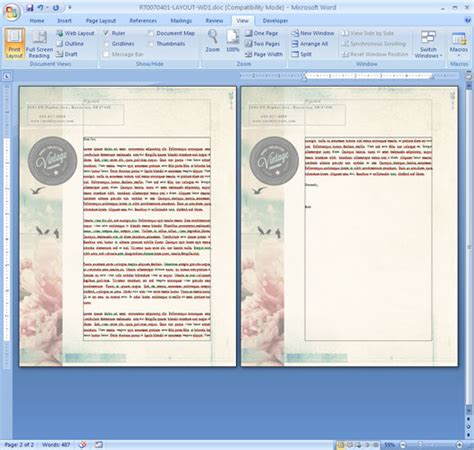 word grafik layout how to repeat a logo and address on each page of your