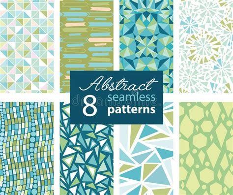 vector pattern matching set of 8 vector abstract shapes green blue repeat seamless