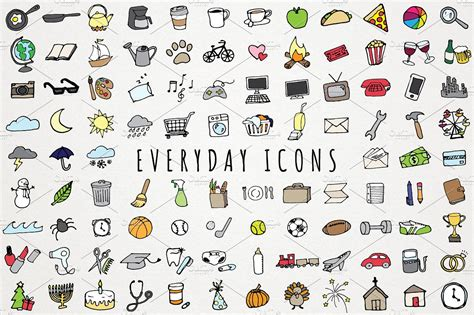 theme item list everyday items to do clipart set icons creative market