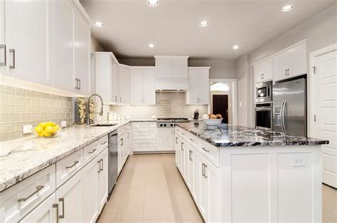 Kitchen Countertops White by Gray Kitchen Cabinets With White Countertops Quicua