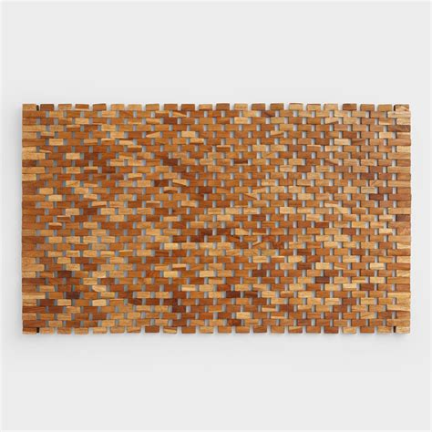 wood bathroom mat teak wood bath mat world market