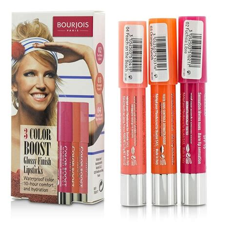 Bourjois Cocktail Cosmetic Sets by New Bourjois 3 Color Boost Glossy Finish Lipsticks Spf 15