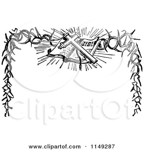 clipart of a retro vintage black and white easter bible