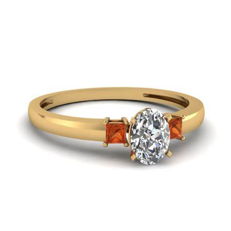 affordable three orange sapphire engagement rings