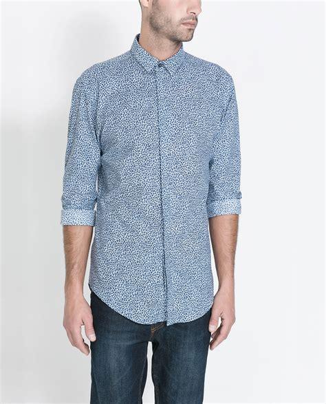 Zaraman Cotton Shirt zara animal print shirt in blue for lyst
