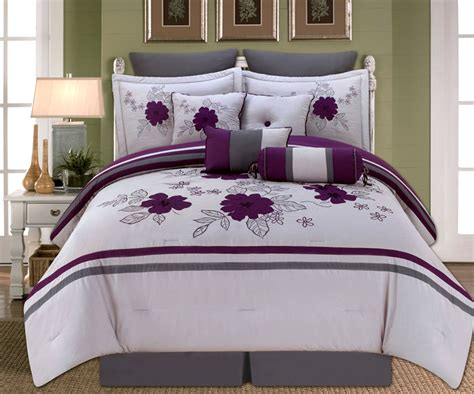 gray and purple comforter 10 piece queen alyssa purple and gray comforter set