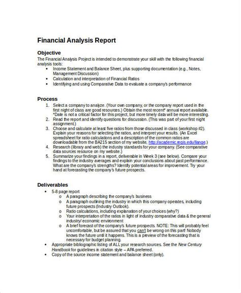 financial analysis sle report 12 financial report exles sles