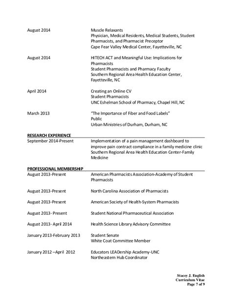 curriculum vitae format for pharmacy student stacey cv