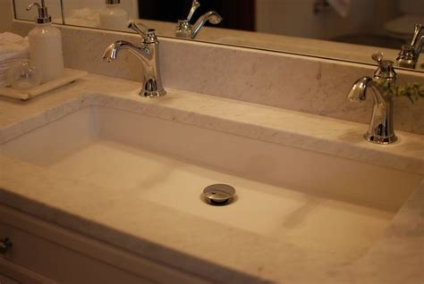 undermount trough sink bathroom undermount long sink with two faucets nice solution for