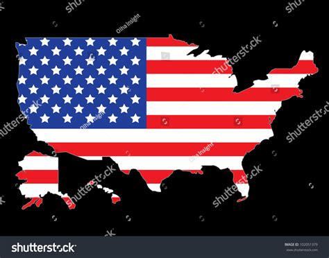 Us State Flag Outlines by Usa Map Outline With United States Flag Illustration 102051379