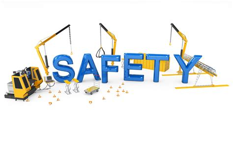 Safety Word With Three Cranes In Background Stock Photo Powerpoint Presentation Images Health And Safety Powerpoint Templates