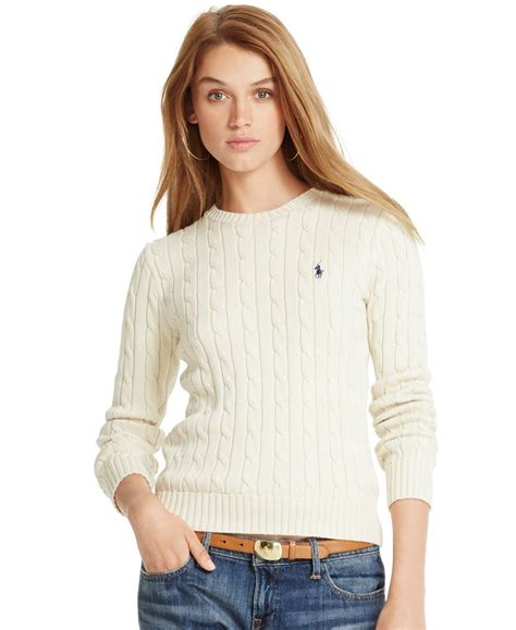 ralph womens cable knit jumper polo ralph cable knit crew neck sweater polo