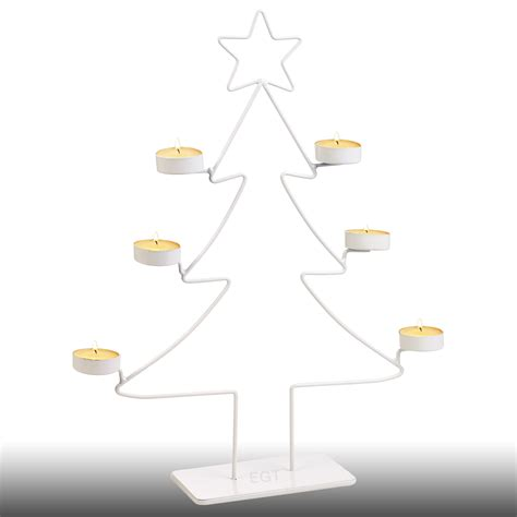 white christmas tree votive 6 tea light candle holder