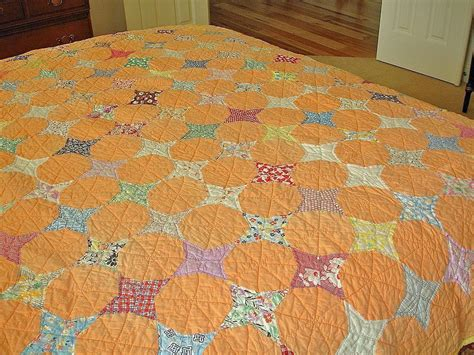 Handmade Antique Quilts - antique size stitched quilt orange american