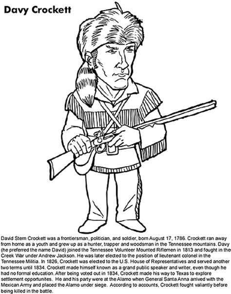 Davy Crockett Coloring Page educational coloring handwriting letters numbers