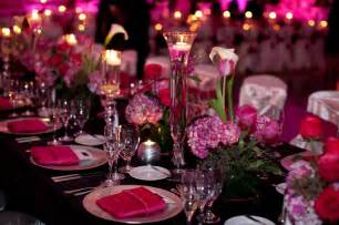 Fuchsia Wedding Table Decorations Table Setting Pink And Black Wedding Pinterest