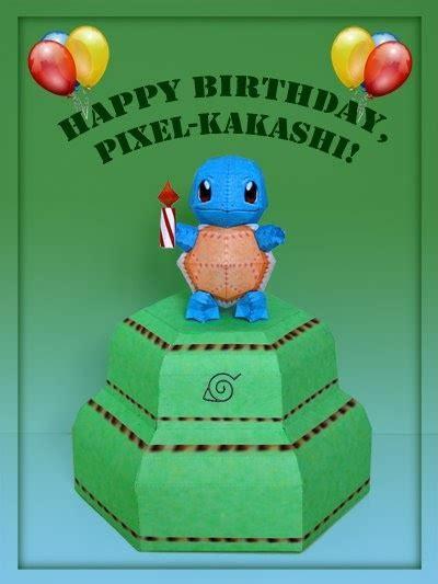 Happy Birthday Papercraft - paperpok 233 s pok 233 mon papercraft happy birthday pixel