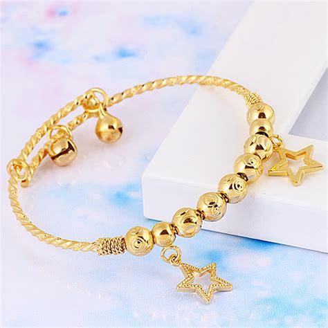 Baby Children's Jewellery 18k Yellow Gold Filled GF Charm Ball bead Star Bells Bangle Bracelet
