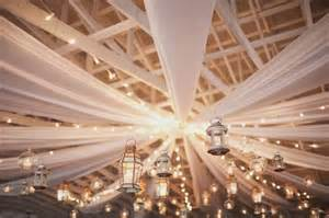 white mini lights and white fabric draped from the