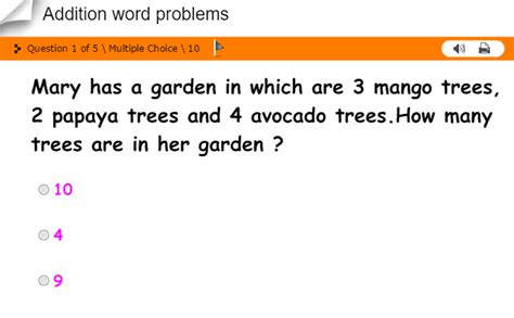 First Grade Interactive Math Skills Word Problems