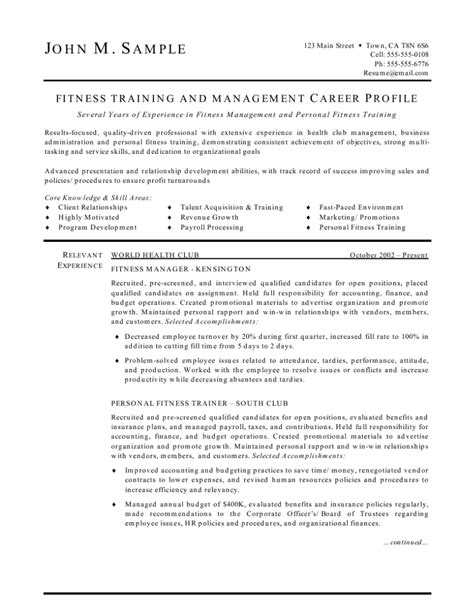 fitness trainer  manager resume