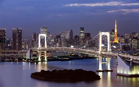 rainbow bridge suspension bridge  tokyo bay japan