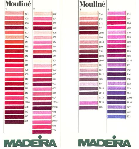thread color chart thread colour charts madeira mouline stranded cotton