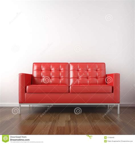 red and white couch red couch in white room stock photo image 17169440