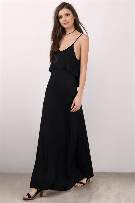 White Black Maxi black maxi dress low back dress black dress