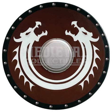 round viking dragon shield with boss ws 110 by medieval