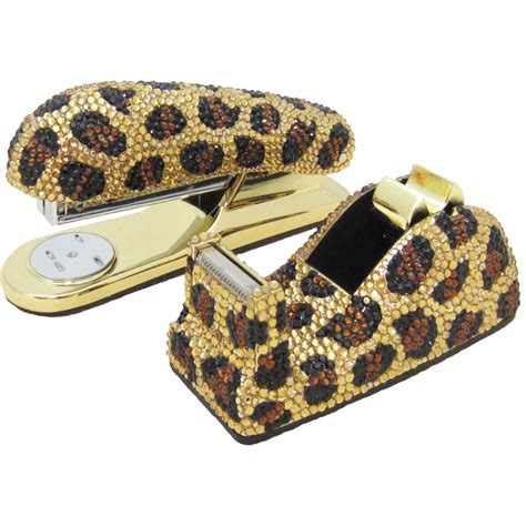 Leopard Desk Accessories Executive Desk Set Leopard Swarovski Crystallized
