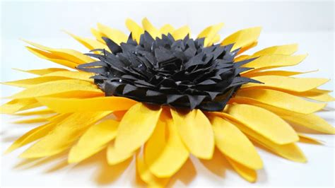 How To Make Sunflower Paper Flowers - diy paper sunflower flower for wall backdrop decoration