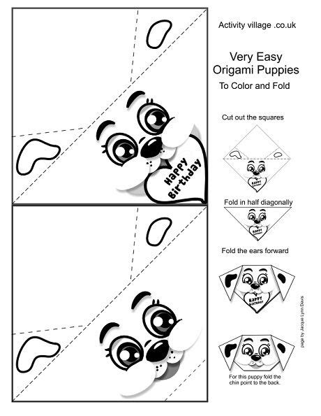 Origami Worksheets - origami worksheets and dogs on