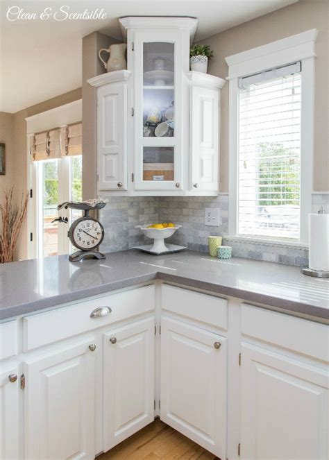How To Clean White Laminate Kitchen Cabinets Kitchen White Kitchen From Clean And Scentsible Beautiful White Kitchen With Grey Quartz