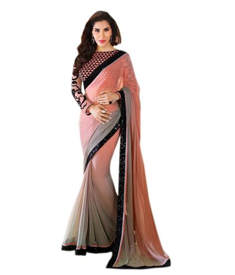 queen s queen s pink chiffon saree buy queen s pink chiffon