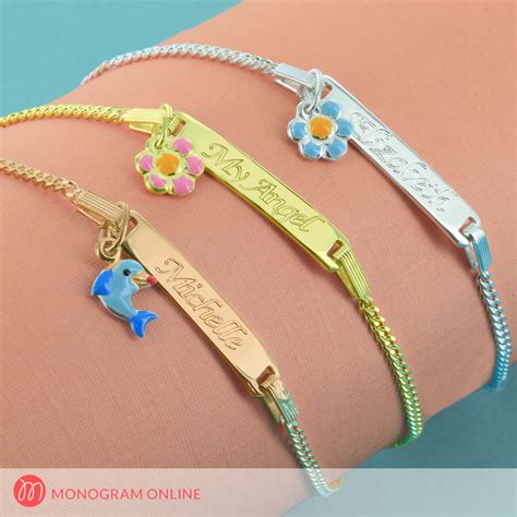 Handmade Kitchen Furniture personalized baby bracelet with pendant monogram online