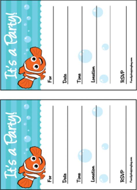 41 Printable Birthday Party Cards Invitations For Kids To Make Finding Nemo Invitation Template Free