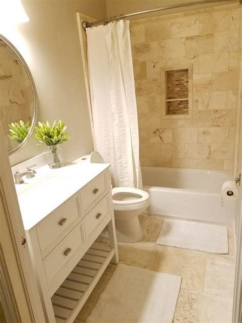 small bathroom remodeled  travertine walls  floor small bathroom tiles neutral
