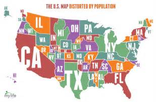 us map population by state map of the united states distorted by population